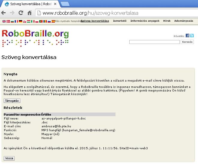 RoboBraille - a szöveg konvertálása utáni visszaigazoló felület