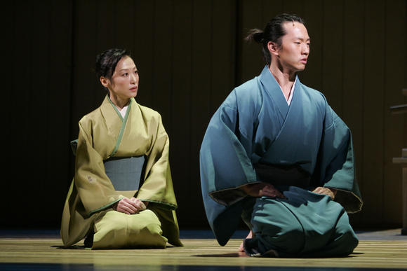 Yoko Fumoto and Michael K. Lee in Roundabout Theatre's PACIFIC OVERTURES. Photo by Joan Marcus