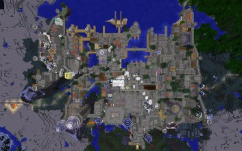 Imperial City from above - Nighttime, North is up