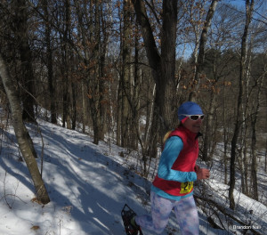 Bronze medalist, Whitney Spivey, outrunning the camera on the fast single track course