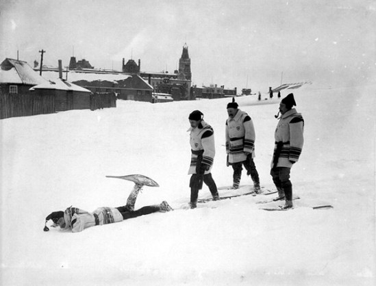 1950s snowshoers in Quebec- snowshoe history
