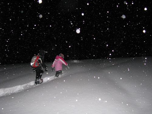 kids snowshoeing at night