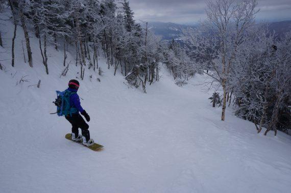 snowboarding on Mount Washington