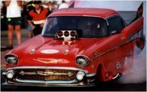 """For a quick trip to the grocery, nothing beats a '57 Chevy . . . street legal or not. Put this on a plate for truly """"fast food."""""""