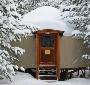 A cozy, rustic yurt at Galena Lodge.