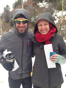 Hadji Corona and Whitney Spivey, overall winners of the 2015 Santa Fe Snowshoe Classic.