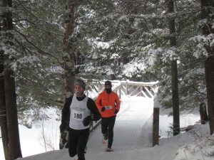 Jeremy Drowne (L) and Eric Sambolec are the first snowshoers to cross Barnum Brook