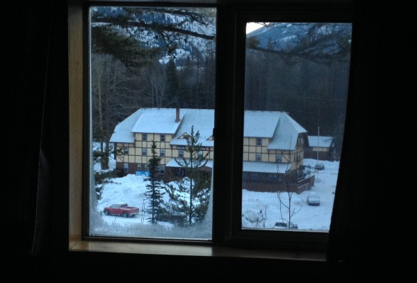 The Izaak Walton Inn as seen from the red caboose.
