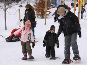 Snowshoeing youngsters hitting the trails.