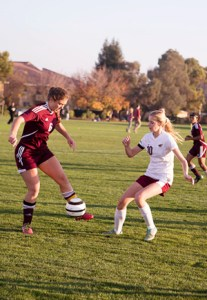 Captain Courtney Messer defends against the Sierra Chieftain offense.
