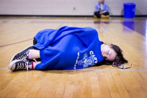 Rhyann Crain, '15, take's quick nap in Jonathan Penberthy's P.E. class Nov. 24. You never know when there is a Fly on the Wall.