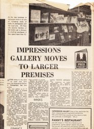 Press coverage for the opening of the new gallery at 17 Colliergate. Pictured is Jeanette Siddall, the gallery's first assistant, who later became Dance Officer of the Arts Council, and was awarded the CBE for services to dance