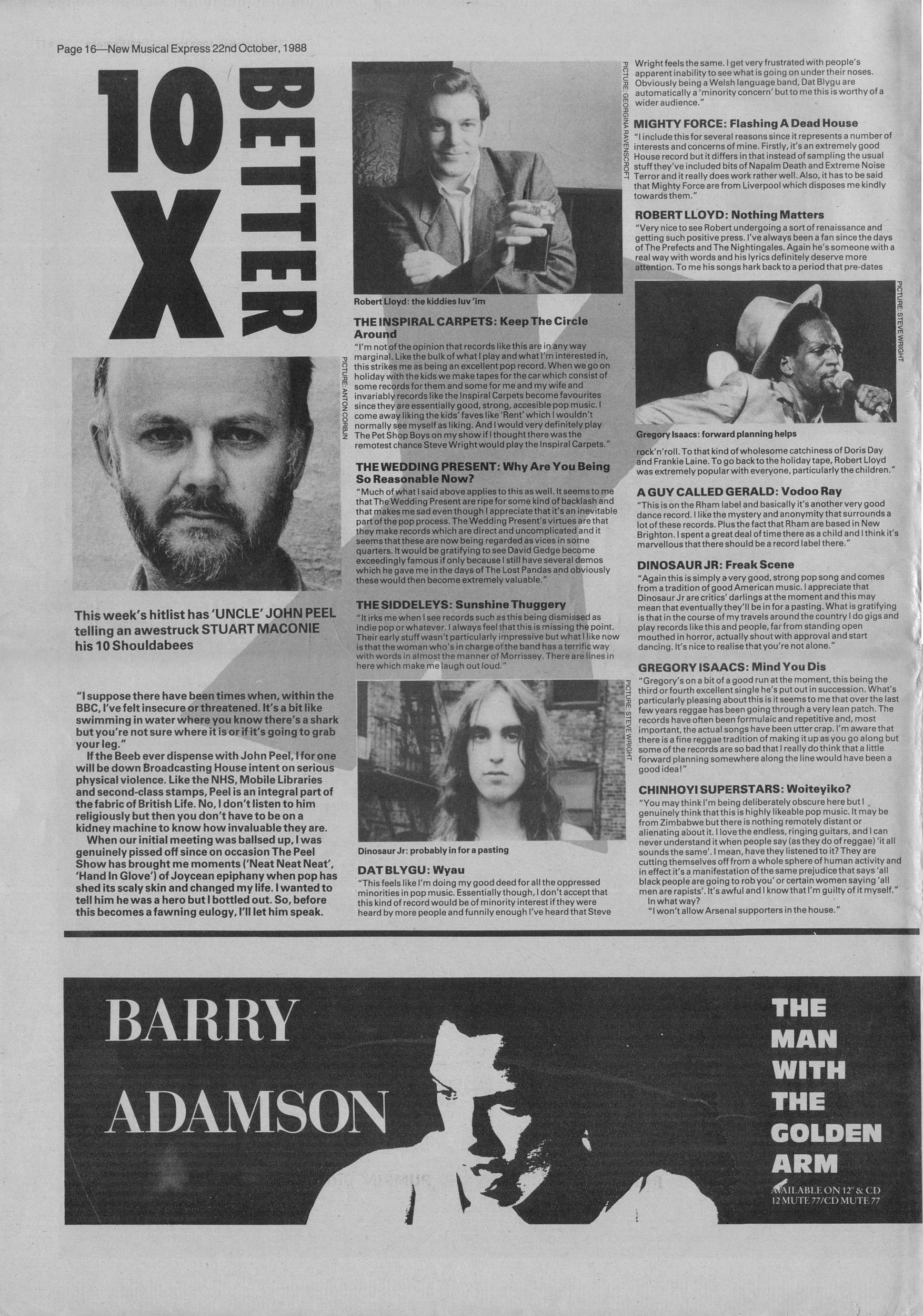 John Peel Hitlist NME 22nd October 1988