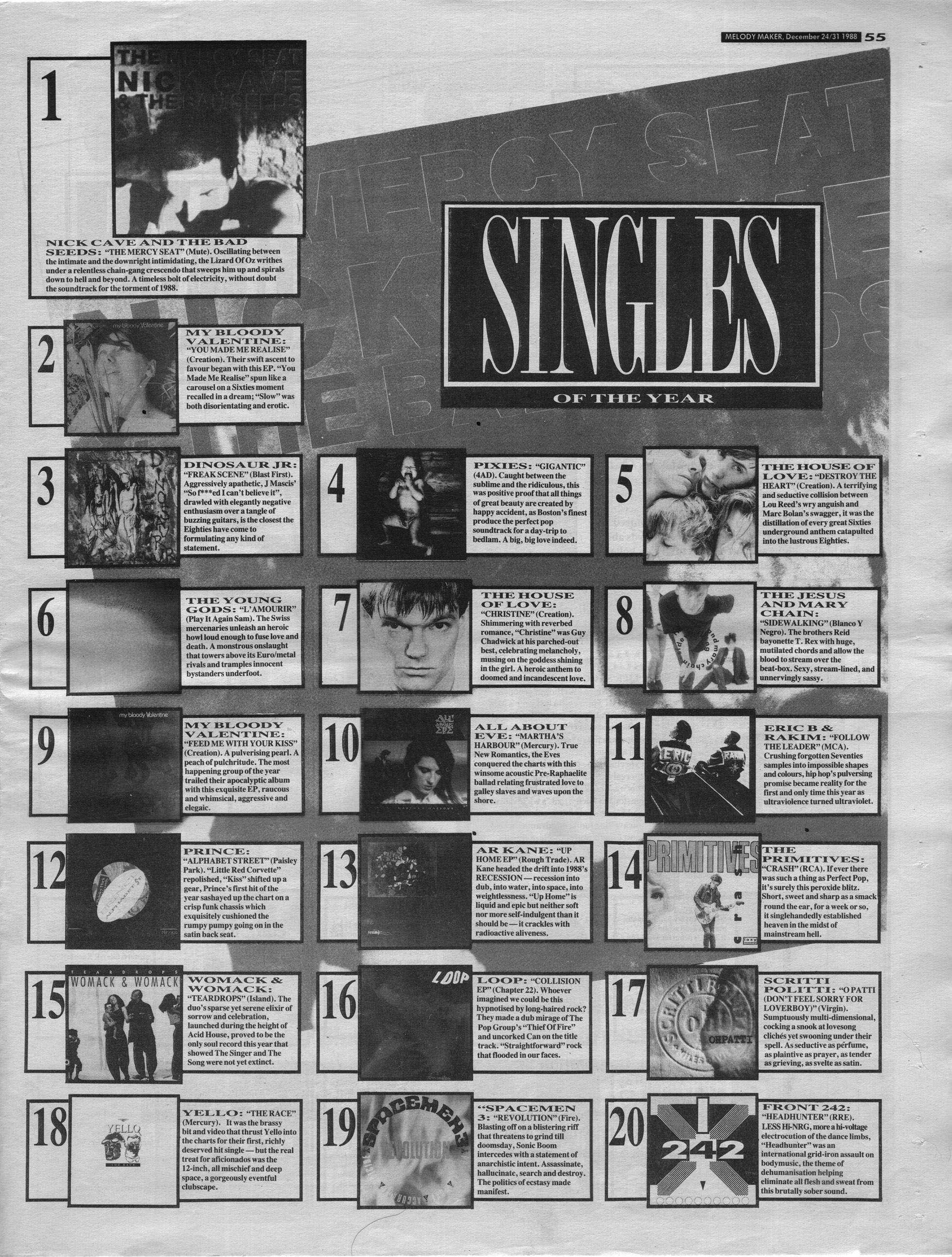 Melody Maker singles of the year 1988
