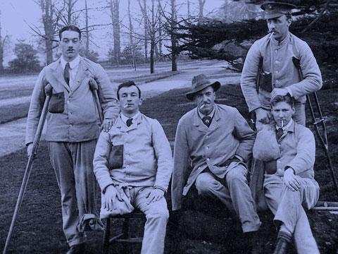 Frank Chapman and comrades in the Roehampton garden