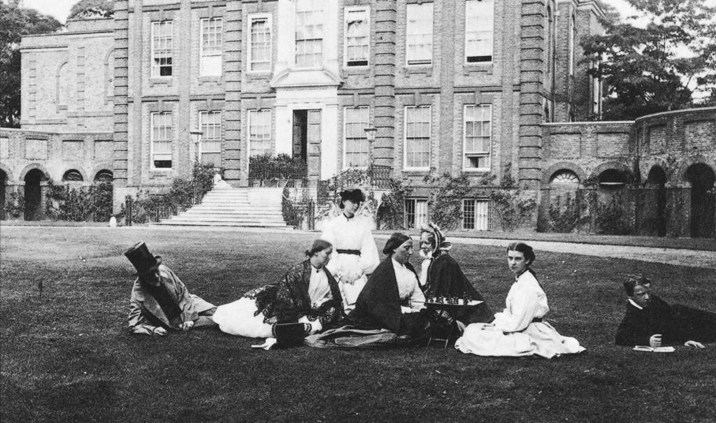 In front of the old north wing which was built in 1859 and demolished by Lutyens in 1910