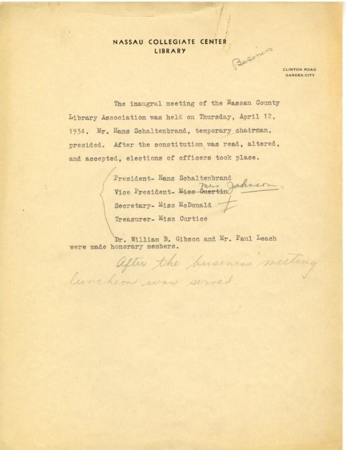 Inaugural Meeting Minutes