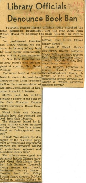 Library Officials Denounce Book Ban, 1954