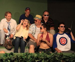 The cast of 'Bleacher Bums, from left, Jonathan Ross, Katherine Ray, Meric Martin, Mark Malloy, Mike Ritts, Melissa Greaves, and Rich McKenna. Sharon A Wilcox