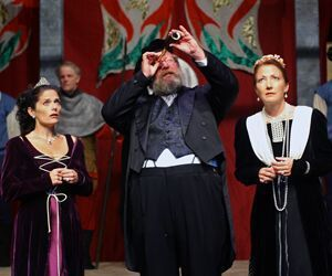 Susan Abrams, left, Kyle Minor and Jude Callirgos Robinsonare among the stars in 'Exit The King at TheatreWorks New Milford. Richard Pettibone