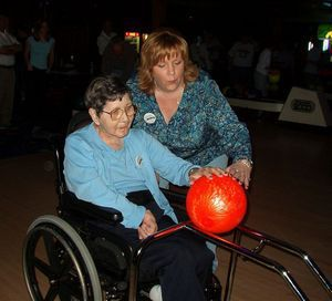 The late Eunice Clark participates in a Bowl-a-Thon in 2004 with Glendale recreation director Christine Greene. Credit: contributed
