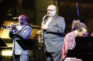 The Clayton Brothers Quintet entertains the crowd during the 16th annual Litchfield Jazz Festival Friday night at the Kent School. The festival will run through Sunday. Christopher Massa Republican-American