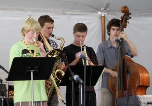 Students from the Litchfield Jazz Camp perform at the gala during the 16th annual Litchfield Jazz Festival Friday night at the Kent School. The festival will run through Sunday. Christopher Massa Republican-American