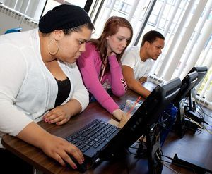 Torrington High School students, from left, Cherelle Halloman, Dani Donaghy and Edgar Gonzalez are in an online learning program that is helping students recover their credits and avert raising the school dropout rate. Darlene Douty/RA