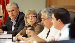 Bill LaMoin and Laurene Pesce, members of the Torrington Board of Finance, look on as Mayor Ryan J. Bingham talks about the town budget during a meeting Thursday at Torrington City Hall. Jim Shannon/RA