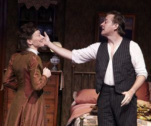 Andrea Maulella as Adelaide Pinchin and Mark Shanahan as George Love in 'Tryst. Credit: TheatreWorks Hartford