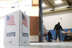 Voters hit the poles at Central Avenue Elementary School in Naugatuck Tuesday morning.