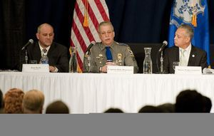 Panelists, from left, Dom Basile, sportsman; Capt. Dale Hourigan of the Connecticut State Police; and Hartford Mayor Pedro Segarra took part in a discussion on gun violence Thursday at Western Connecticut State University in Danbury. Jim Shannon/RA