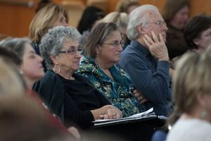 Social workers and clinicians listen to guest speakers during Responding to Newtown: A Workshop for Clinicians Friday at the Jewish Federation of Western Connecticut in Southbury.  Jim Shannon Republican-American