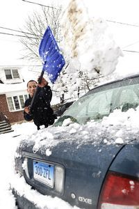 Leon Speruzzi shovels out his car in Waterbury Friday. Connecticut's latest snowstorm dropped varied inch counts, between as little as 4 inches to as much as 21 inches near the Rhode Island border. Most towns in Northwest Connecticut saw between 4 inches and 8 inches, with a few higher total spots like Wolcott, which got 15.  Erin Covey Republican-American.