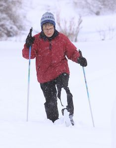 Bobbie Rategan of Waterbury on Friday cross-country skis through the six inches of snow that fell at the White Memorial Conservation Center in Litchfield. The snow was wet and heavy, Rategan said, but was good enough for skiing. John McKenna Photo