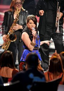 In this photo released by PictureGroup, contestant Katie Stevens performs at the American Idol Season 9 Top 9 Performance Show on Tuesday, April 13, 2010 in Los Angeles. (Photo by Michael Becker/PictureGroup for Fox)