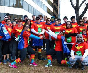 Members of Team Rachel each dressed as Wonder Woman to honor the late Rachel DAvino for the Sandy Hook 5K, recently held in Hartford. On June 1, the team will come out again at Library Park in Waterbury in support of Autism Speaks. Republican American archive
