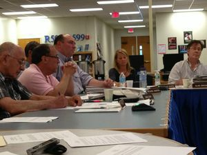 Members of the Region 12 Board of Education debate what configuration option to present to voters in a referendum at Shepaug Valley High School in Washington, Conn. Rick Harrison Republican-American
