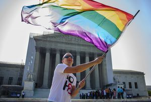 Demonstrators gather in front of the U.S. Supreme Court on June 25 in Washington, DC. (Pete Marovich/MCT)