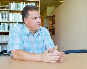 Ronald S. San Angelo reflects on his political career in the Howard Whittemore Memorial Library. Alexandra Pape / Republican-American