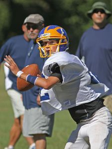 Falls Village, CT-24 August 2013-082413MK06 Housatonic's Jeremy Stiewing looks to throw during a scrimmage against Oliver Wolcott Technical at Housatonic Valley Regional High School on Saturday morning Falls Village. Michael Kabelka / Republican-American