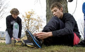 From left, Mason Fitzpatrick, 13, and Cameron O´Bar, 14, both Pomperaug High students from Middlebury get ready to run in the sixth annual Pilgrim's Pace 5K, sponsored by the Middlebury Congregational Church, in Middlebury Saturday.  Steven Valenti Republican-American