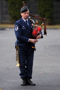 Karcher Reynolds of Warren, a member of Northwest Connecticut Military Final Honors, plays the bagpipes Monday during a Veterans Day ceremony at Emeritus at Litchfield Hills in Torrington. Alec Johnson/RA