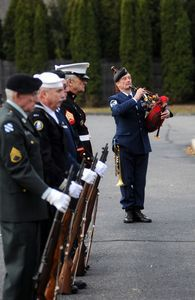Karcher Reynolds plays the bagpipes with Northwest Connecticut Military Final Honors at Veterans Day ceremonies at Emeritus at Litchfield Hills on Monday. Alec Johnson/RA