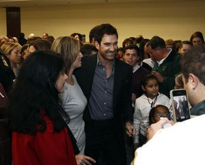 Actor and Waterbury native Dylan McDermott, is mobbed by fans following an induction ceremony at Holy Cross High School in Waterbury Saturday afternoon. McDermott was one of the five honorees inducted into the Silas Bronson Library's Waterbury Hall of Fame. Christopher Massa Republican-American