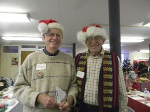 Serving as elf waiters at Saturday's Holly Berry Fair at the Canaan Methodist Church are Fred Baldwin, left, and Carl Franson. Ruth Epstein Republican-American