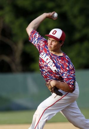 Waterbury, CT- 30 June 2015-063015CM08- Oakville's Grant Wallace delivers pitch during their American Legion baseball matchup against Waterbury at Municipal Stadium in Waterbury on Tuesday. Waterbury won, 1-0. Christopher Massa Republican-American