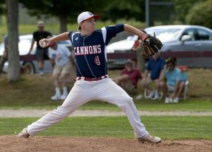 WATERBURY, CT--- -072215JS07--Greenwich's Hunter Franz (4), a student at the Taft School, delivers a pitch during their American Legion tournament game against Waterbury Post 1 Wednesday at Bucks Hill Park in Waterbury.   Jim Shannon Republican-American