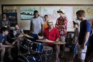 Matt Wilson works with students at the Litchfield Jazz Camp. Credit: Dale Rothenberg