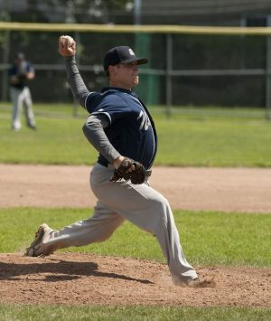 TORRINGTON, CT--- -080215JS19--Naugatuck's Bryan (35) delivers a pitch during the Stan Musial championship game against Tri-Town at Fuessenich Park in Torrington on Sunday. Naugatuck defeated Tri-Town 6-1.  Jim Shannon Republican-American